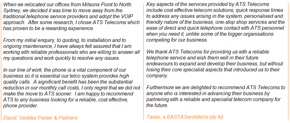 Customer Testimonials - hear what our customkers are saying about ATS Telecoms